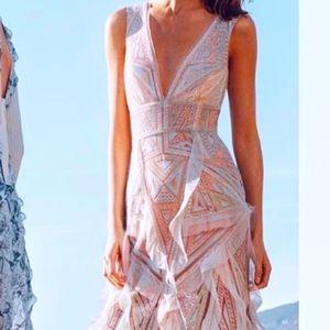 NEW BCBG MaxAzria Aislinn Lace Blush Mesh Gown 6